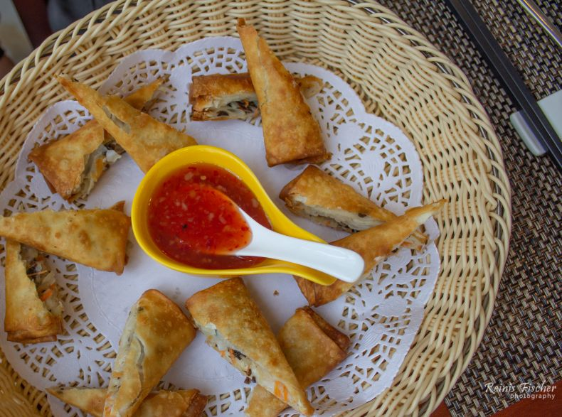Spring-rolls with a sauce