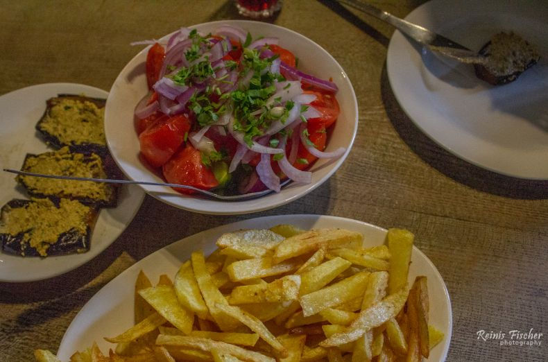 Homemade style french fries at Dzveli duqani in Tbilisi