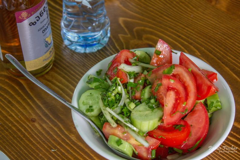 Fresh cucumber / tomato salads