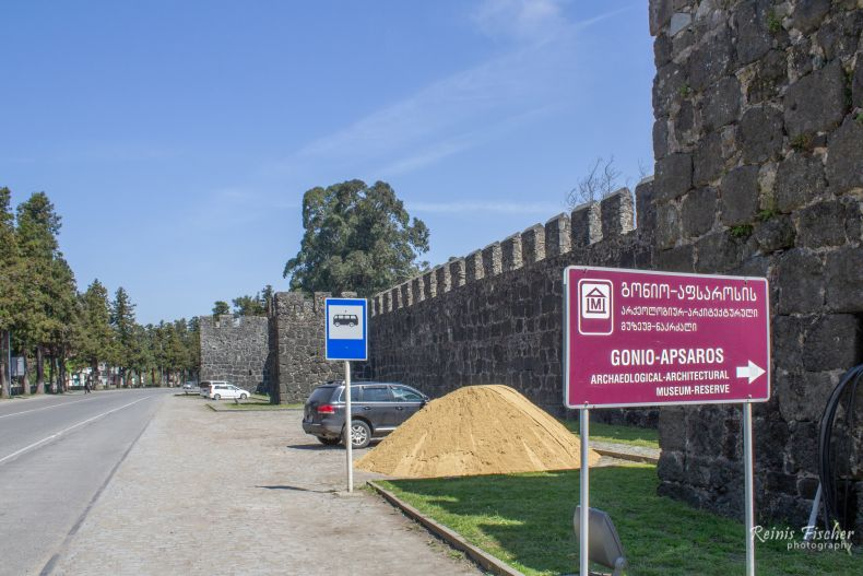 Free parking in front of the main entrance gates of Gonio fortress