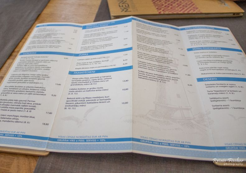 Menu at grill-bar Lighthouse