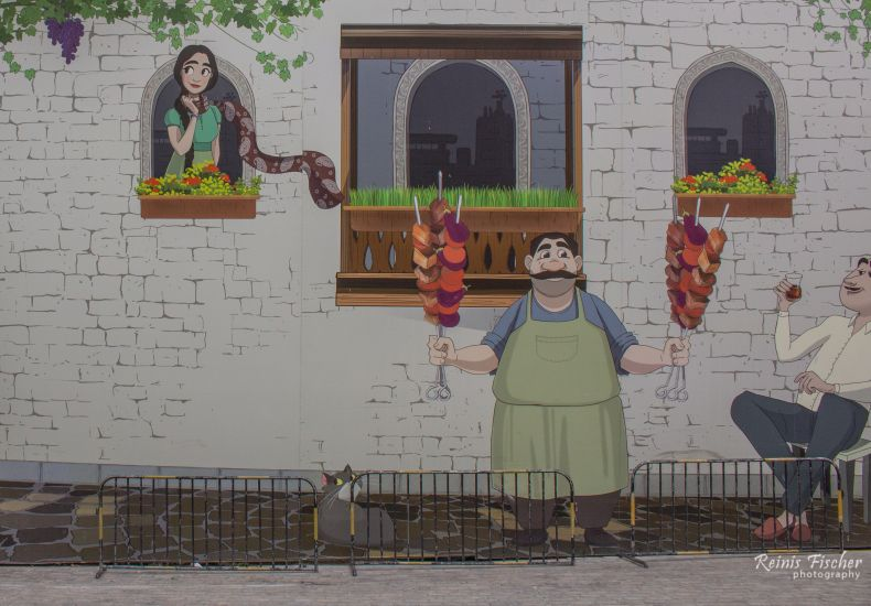 Painted wall in Baku's Old City