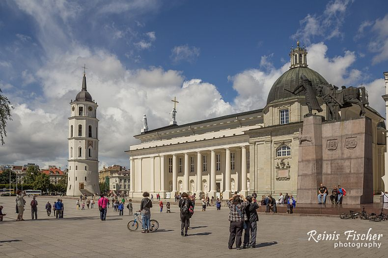 Cathedral square and bell tower in Vilnius