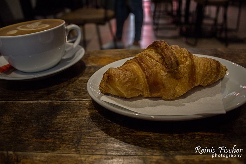 Croissant and coffee late