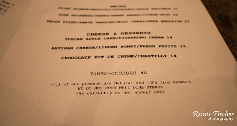Three Course menu