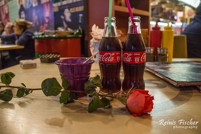 Coca cola and rose