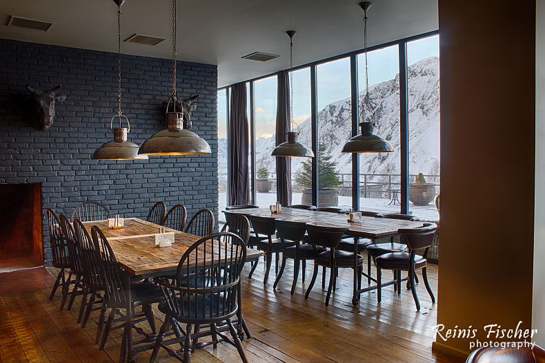 Dinning hall at Rooms Hotel Kazbegi
