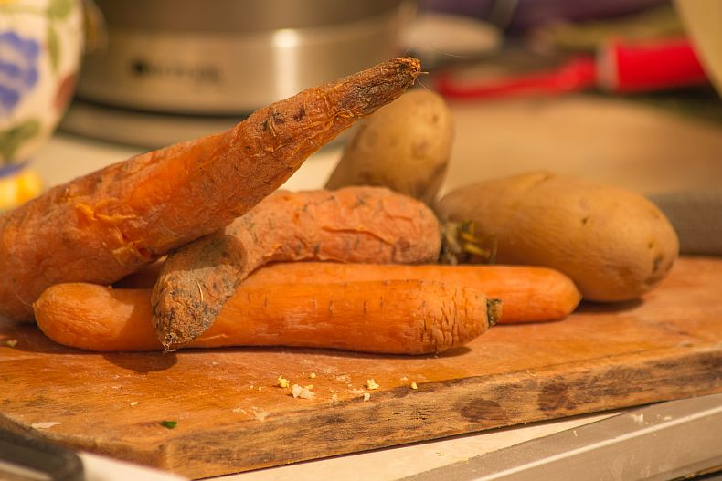 Boiled carrots and potatoes for Olivie Salad
