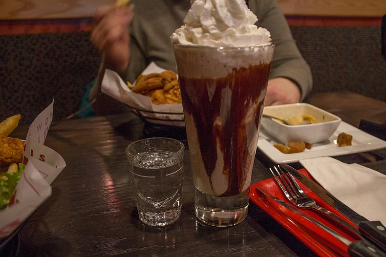 Milk shake and shot of Vodka