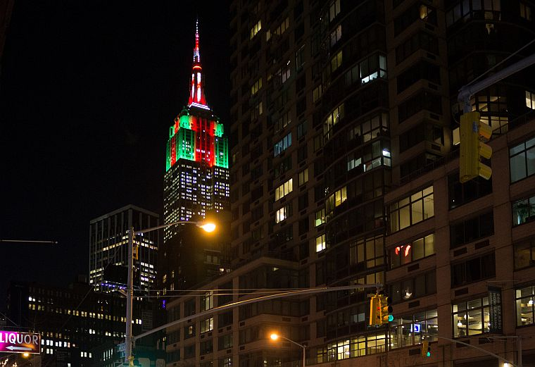 The Empire State building iluminated