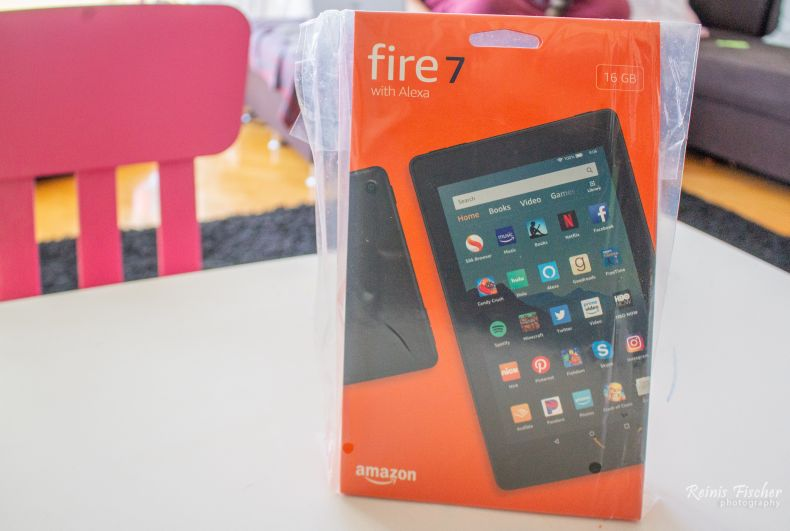 Fire 7 tablet in package