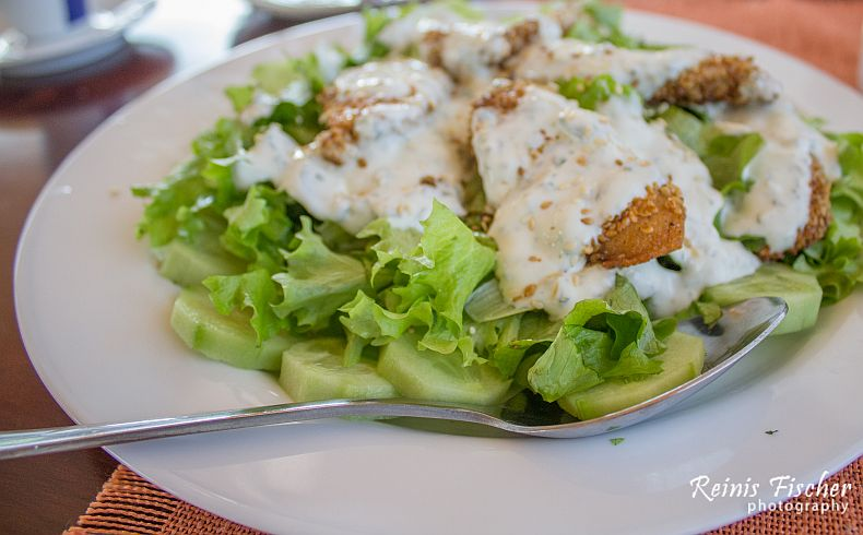 Salads with chicken fillet and matsoni