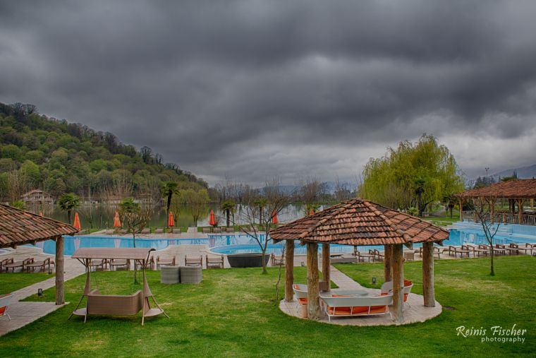 Outdoor swimming pools at Lopota lake