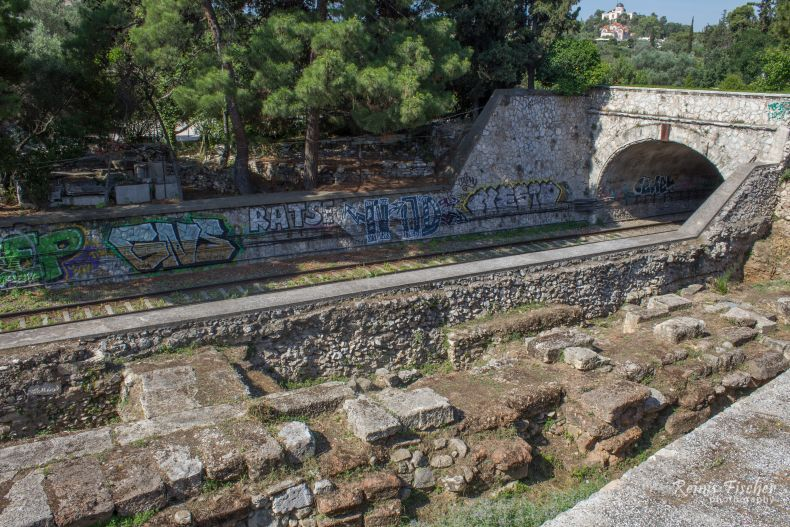 Railroad near Ancient Agora in Athens
