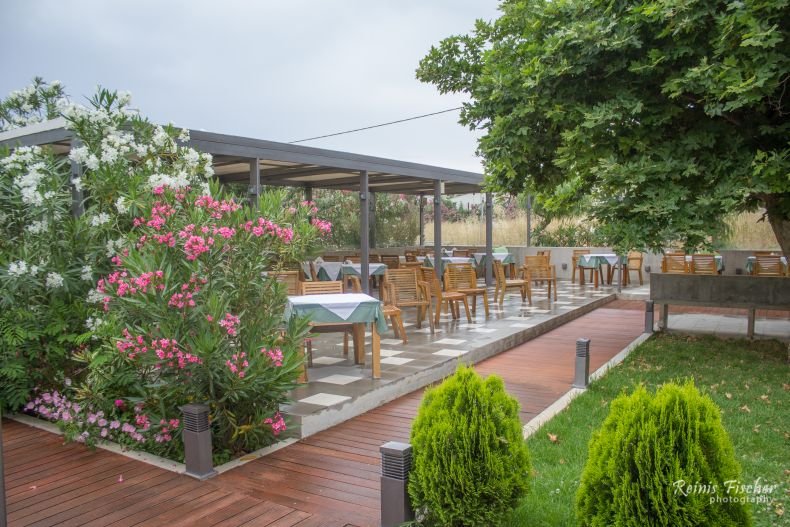 Outdoor terrace at The Stones Restaurant in Platanias