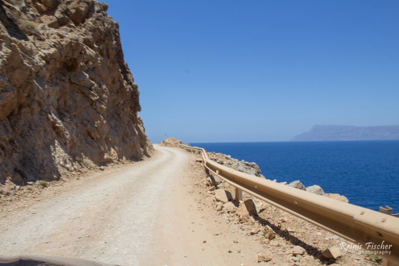Rough road to Balos beach in Crete