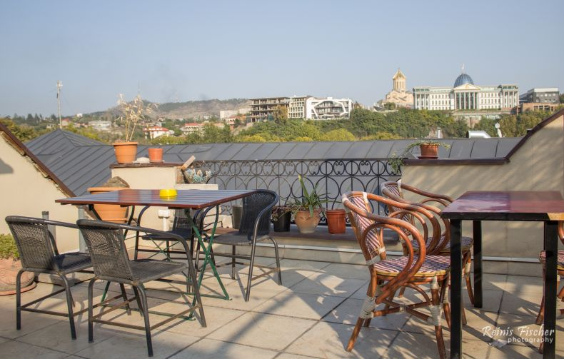 Rooftop terrace at Metis restaurant in Tbilisi