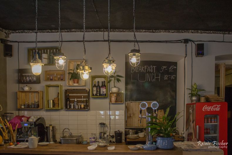 Hipster style interior at Hurma Cafe shop