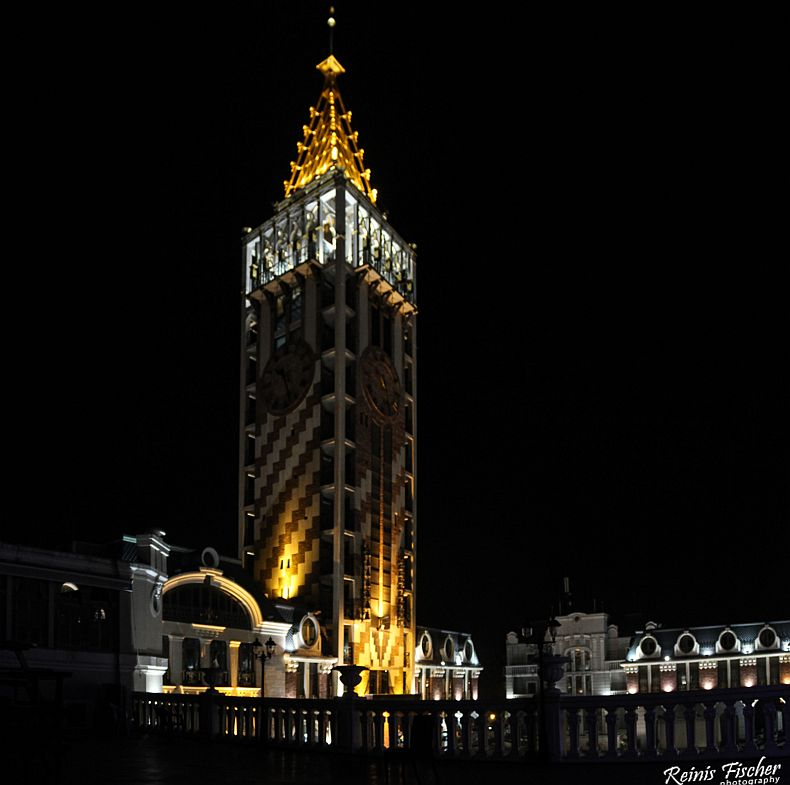 Clock tower at Piazza square in Batumi