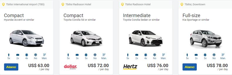 Most popular car rental offers in Tbilisi