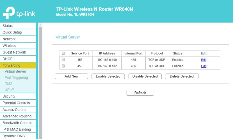 Port forwarding on TP-Link Wireless router