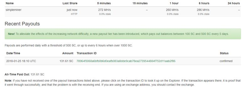 Recent Payouts on Siacoin