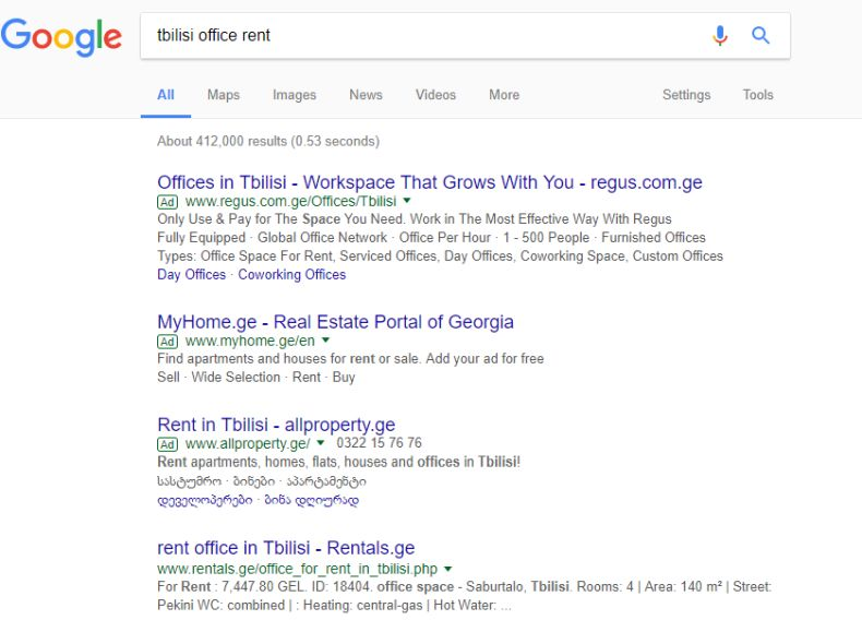 "More than 400,000 Google search results for ""Tbilisi Office Rent"""